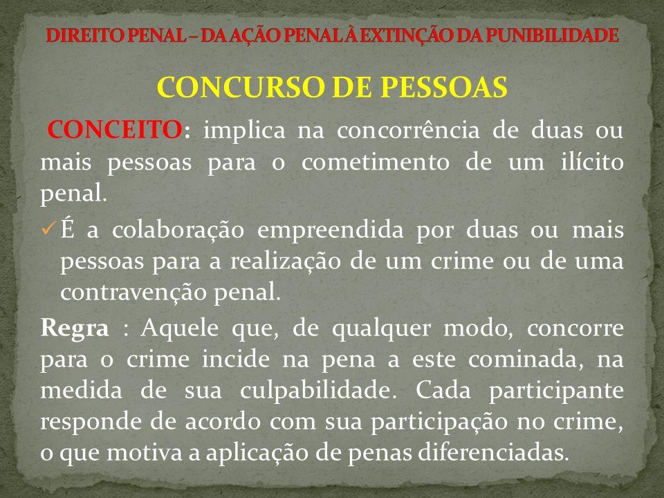 CONCURSO DE PESSOAS CONCEITO: implica na concorrência de duas ou mais pessoas para o cometimento de um ilícito penal. É a colaboração empreendida por