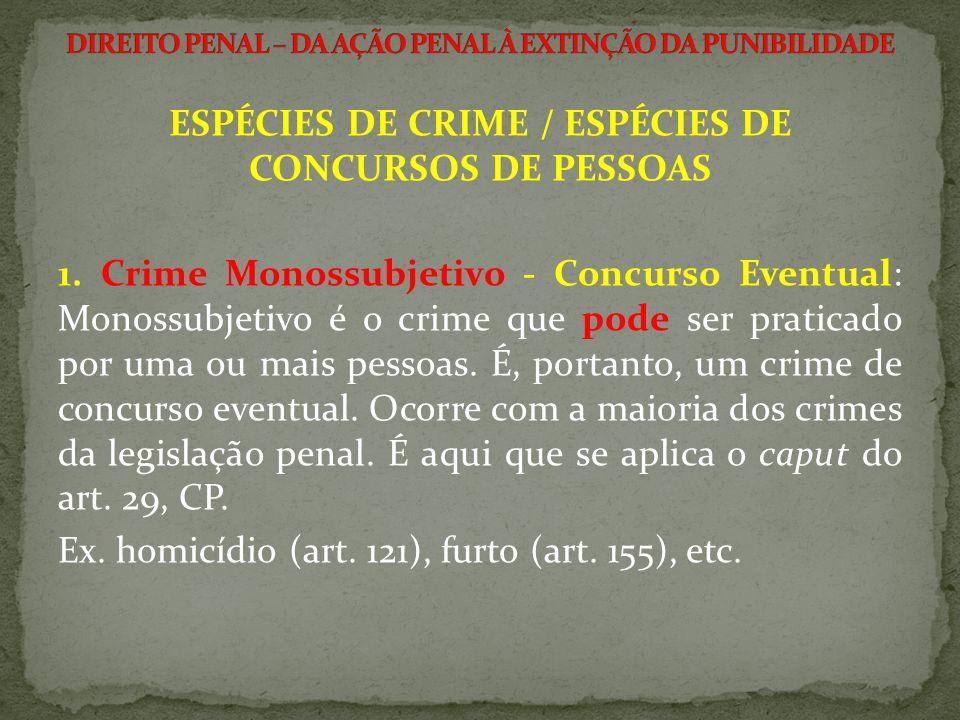 ESPÉCIES DE CRIME / ESPÉCIES DE CONCURSOS DE PESSOAS 1. Crime Monossubjetivo - Concurso Eventual: Monossubjetivo é o crime que pode ser praticado por