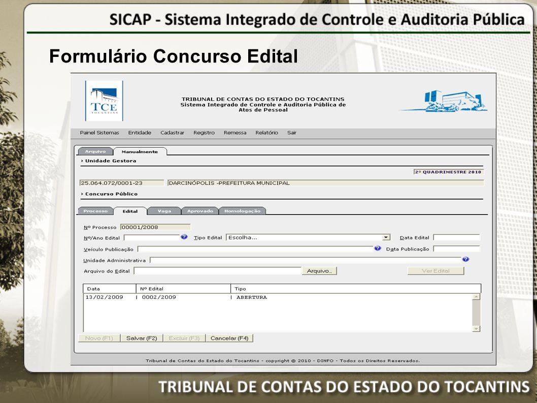 Formulário Concurso Edital