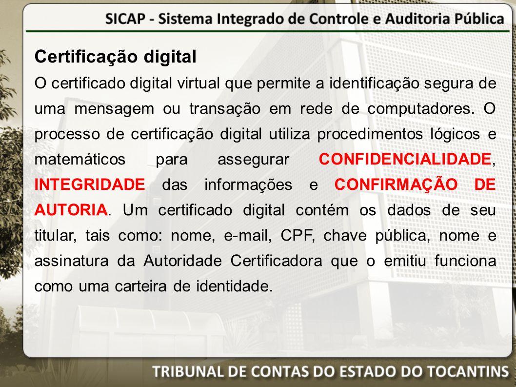 Certificação digital O certificado digital virtual que permite a identificação segura de uma mensagem ou transação em rede de computadores.