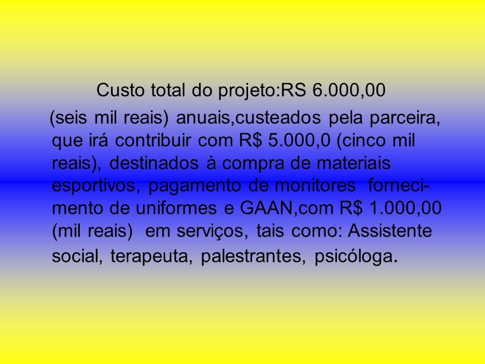 Custo total do projeto:RS 6.000,00 (seis mil reais) anuais,custeados pela parceira, que irá contribuir com R$ 5.000,0 (cinco mil reais), destinados à
