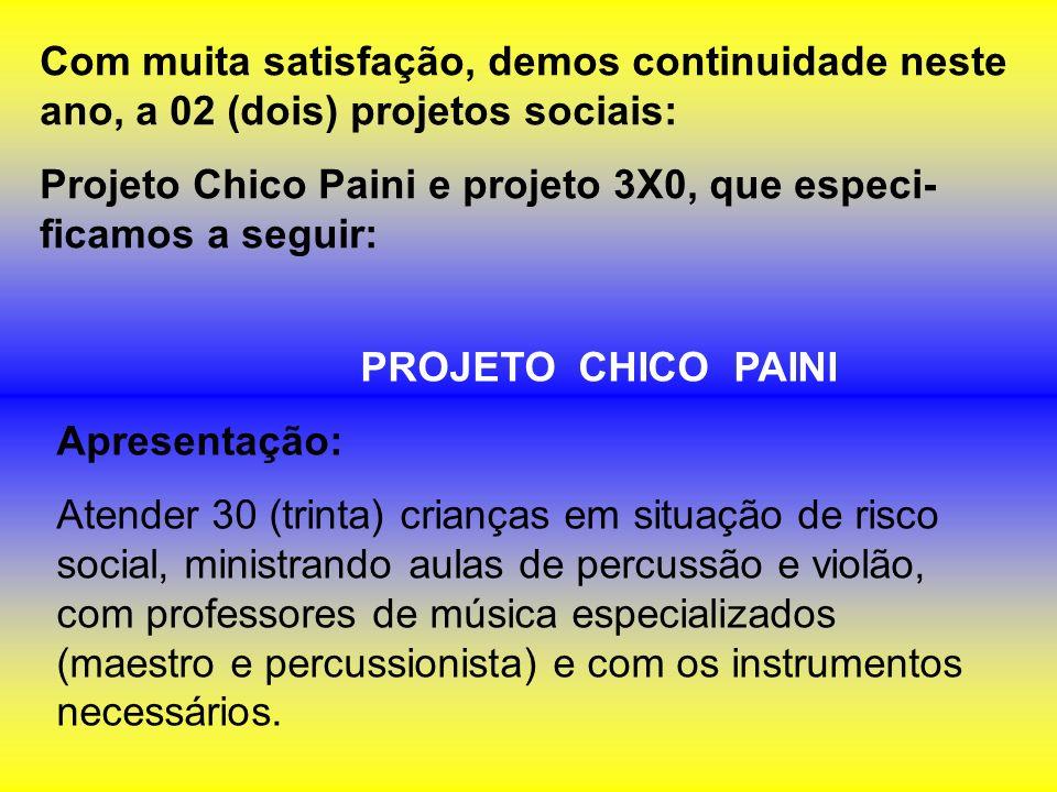 PROJETO CHICO PAINI Apresentação: Atender 30 (trinta) crianças em situação de risco social, ministrando aulas de percussão e violão, com professores d