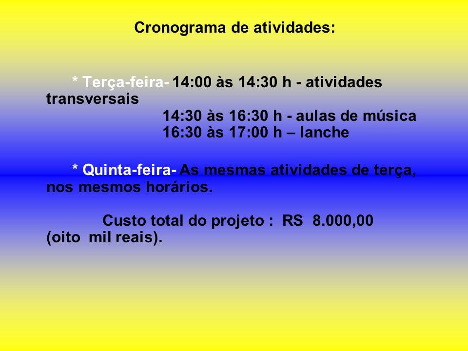 Cronograma de atividades: * Terça-feira- 14:00 às 14:30 h - atividades transversais 14:30 às 16:30 h - aulas de música 16:30 às 17:00 h – lanche * Qui