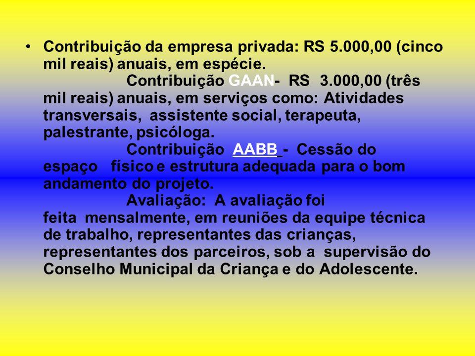Contribuição da empresa privada: RS 5.000,00 (cinco mil reais) anuais, em espécie. Contribuição GAAN- RS 3.000,00 (três mil reais) anuais, em serviços