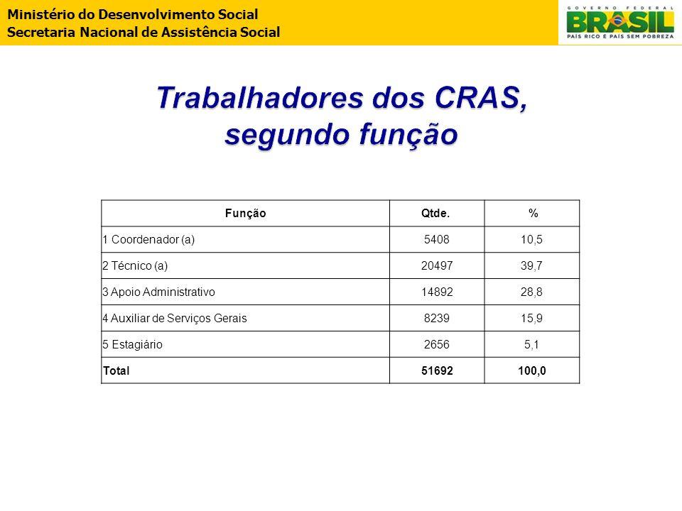 Ministério do Desenvolvimento Social Secretaria Nacional de Assistência Social FunçãoQtde. % 1 Coordenador (a)540810,5 2 Técnico (a)2049739,7 3 Apoio