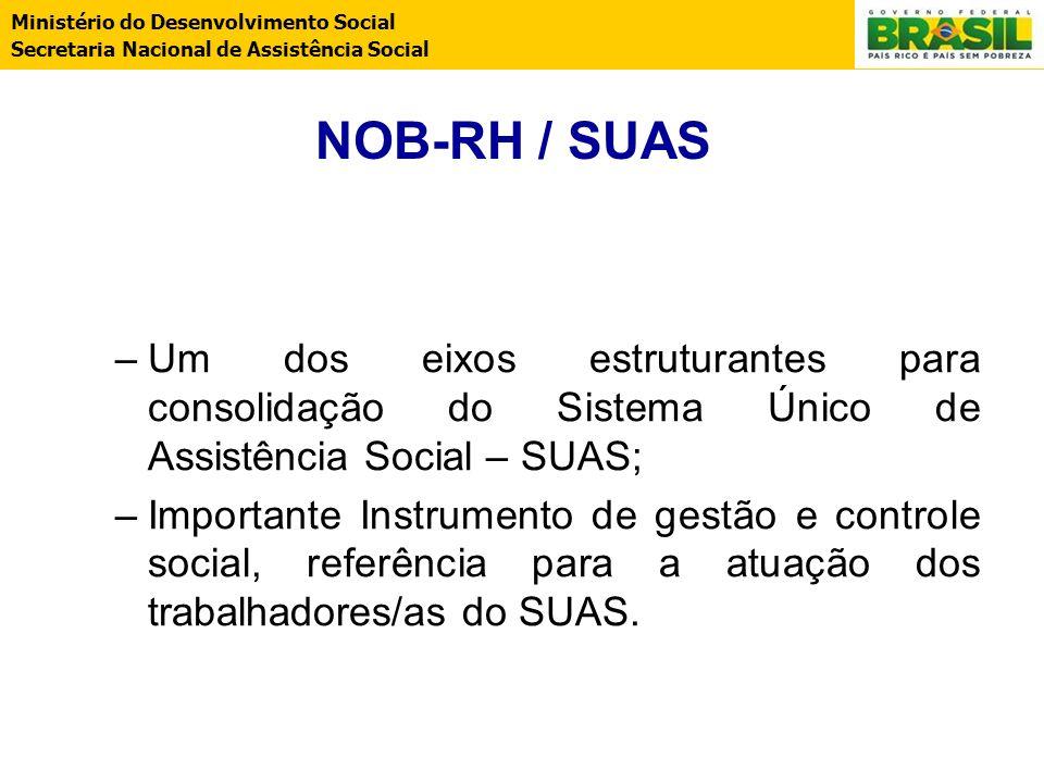 Ministério do Desenvolvimento Social Secretaria Nacional de Assistência Social NOB-RH / SUAS –Um dos eixos estruturantes para consolidação do Sistema