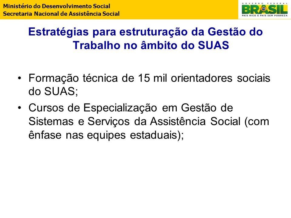 Ministério do Desenvolvimento Social Secretaria Nacional de Assistência Social Estratégias para estruturação da Gestão do Trabalho no âmbito do SUAS F