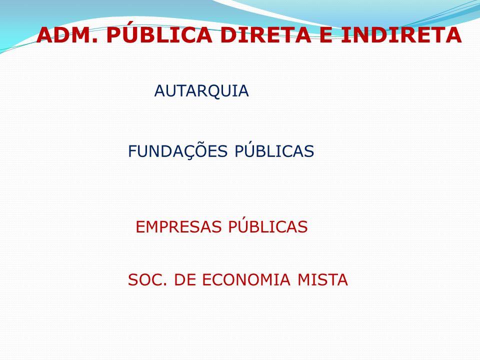 AUTARQUIA ADM. PÚBLICA DIRETA E INDIRETA FUNDAÇÕES PÚBLICAS EMPRESAS PÚBLICAS SOC. DE ECONOMIA MISTA