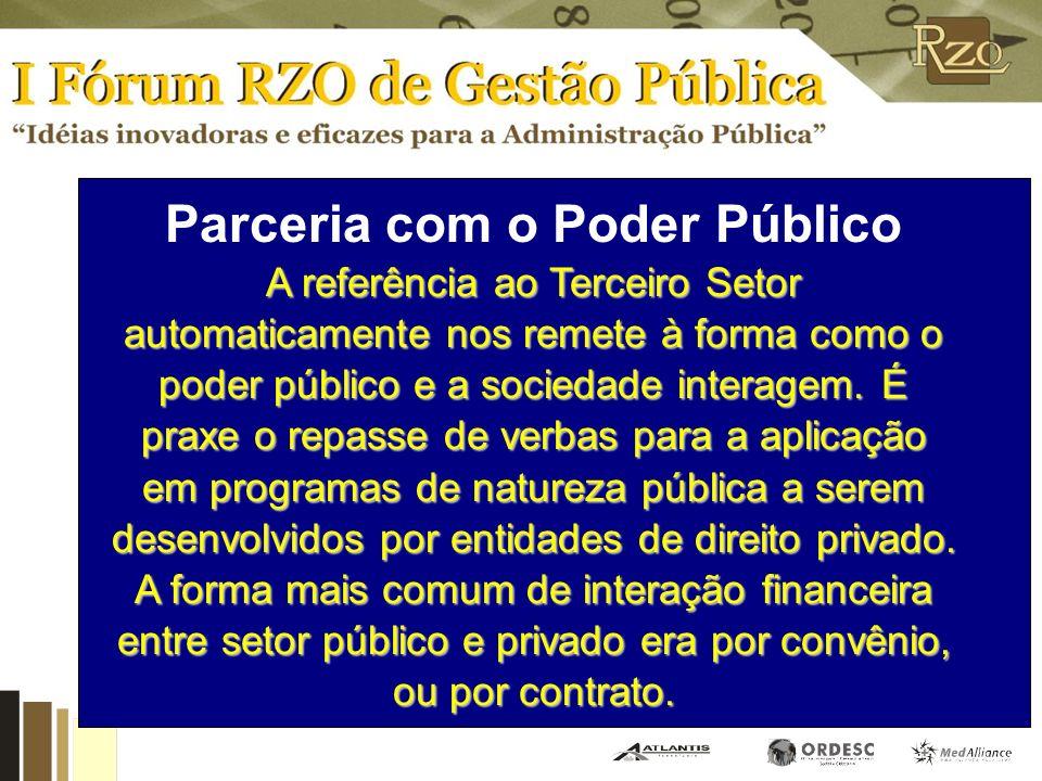 Parceria com o Poder Público A referência ao Terceiro Setor automaticamente nos remete à forma como o poder público e a sociedade interagem.