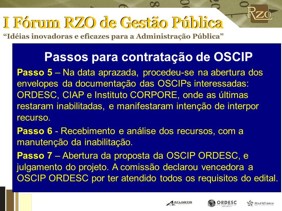 Passos para contratação de OSCIP Passo 5 – Na data aprazada, procedeu-se na abertura dos envelopes da documentação das OSCIPs interessadas: ORDESC, CIAP e Instituto CORPORE, onde as últimas restaram inabilitadas, e manifestaram intenção de interpor recurso.