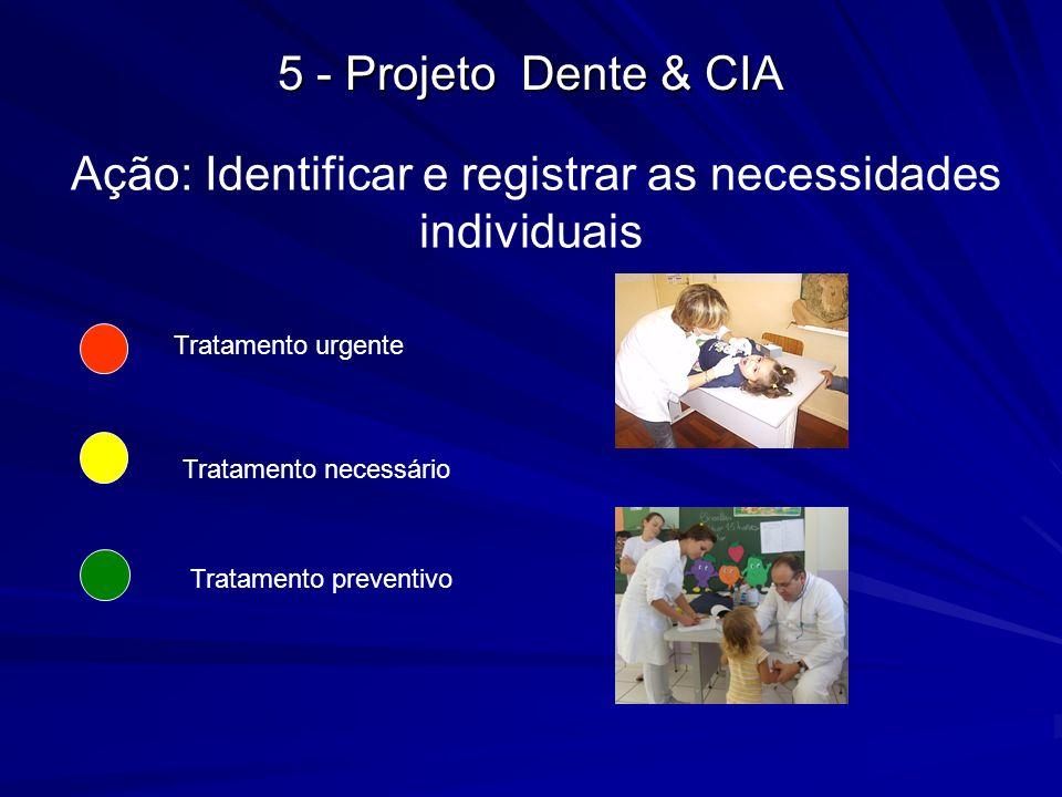 Ação: Identificar e registrar as necessidades individuais Tratamento urgente Tratamento necessário Tratamento preventivo 5 - Projeto Dente & CIA