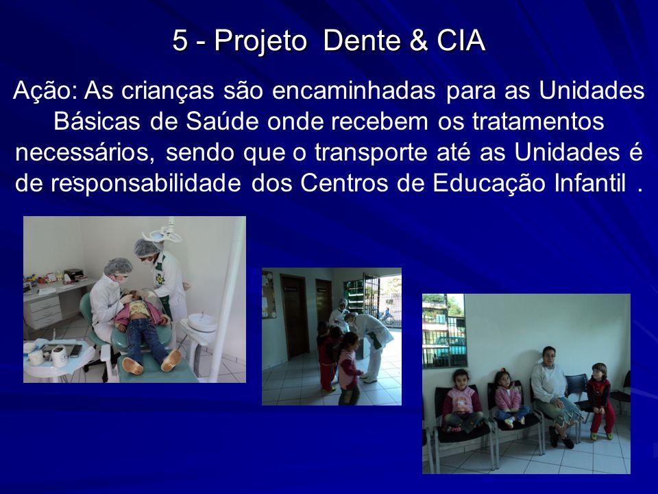 Ação: As crianças são encaminhadas para as Unidades Básicas de Saúde onde recebem os tratamentos necessários, sendo que o transporte até as Unidades é