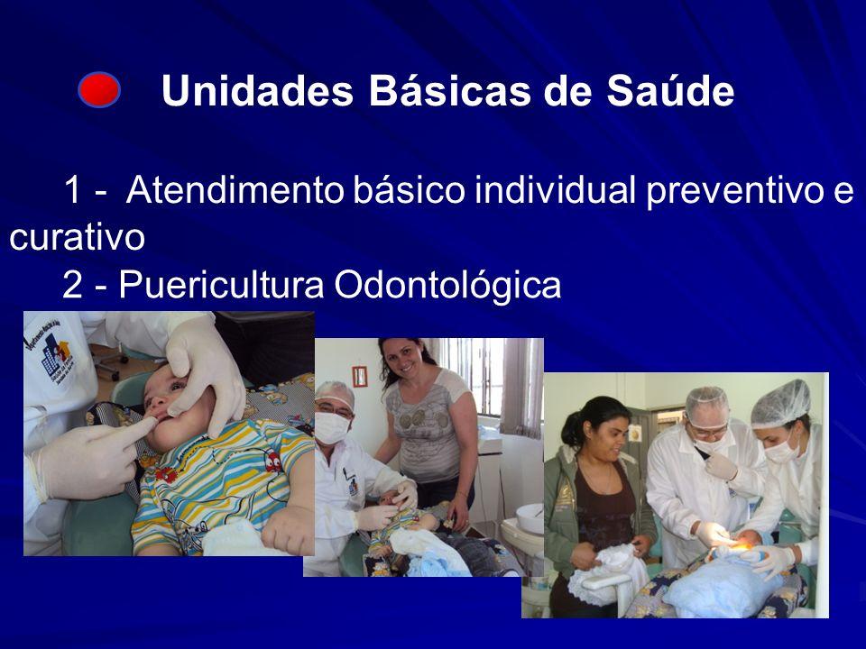 Unidades Básicas de Saúde 1 - Atendimento básico individual preventivo e curativo 2 - Puericultura Odontológica