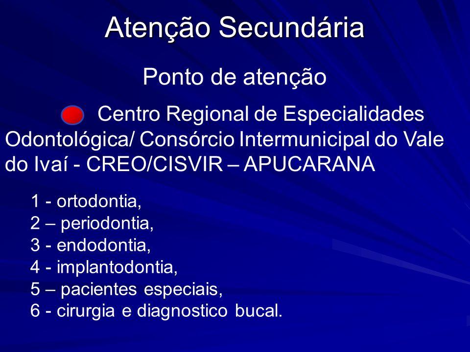Atenção Secundária Centro Regional de Especialidades Odontológica/ Consórcio Intermunicipal do Vale do Ivaí - CREO/CISVIR – APUCARANA 1 - ortodontia,