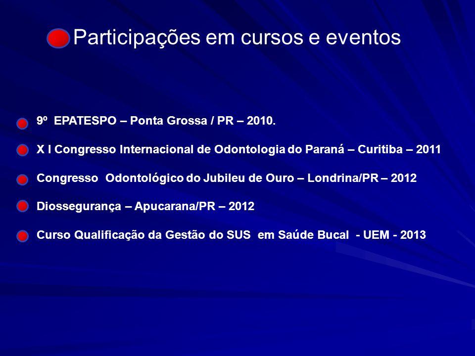 Participações em cursos e eventos 9º EPATESPO – Ponta Grossa / PR – 2010. X I Congresso Internacional de Odontologia do Paraná – Curitiba – 2011 Congr