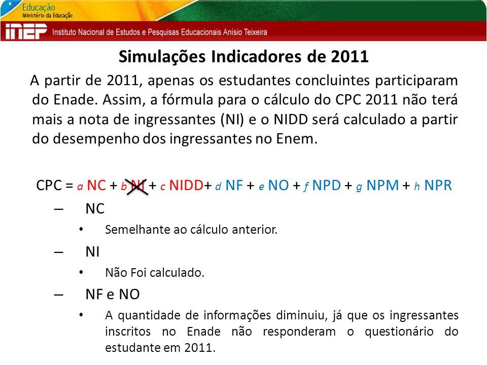 Simulações Indicadores de 2011 A partir de 2011, apenas os estudantes concluintes participaram do Enade. Assim, a fórmula para o cálculo do CPC 2011 n