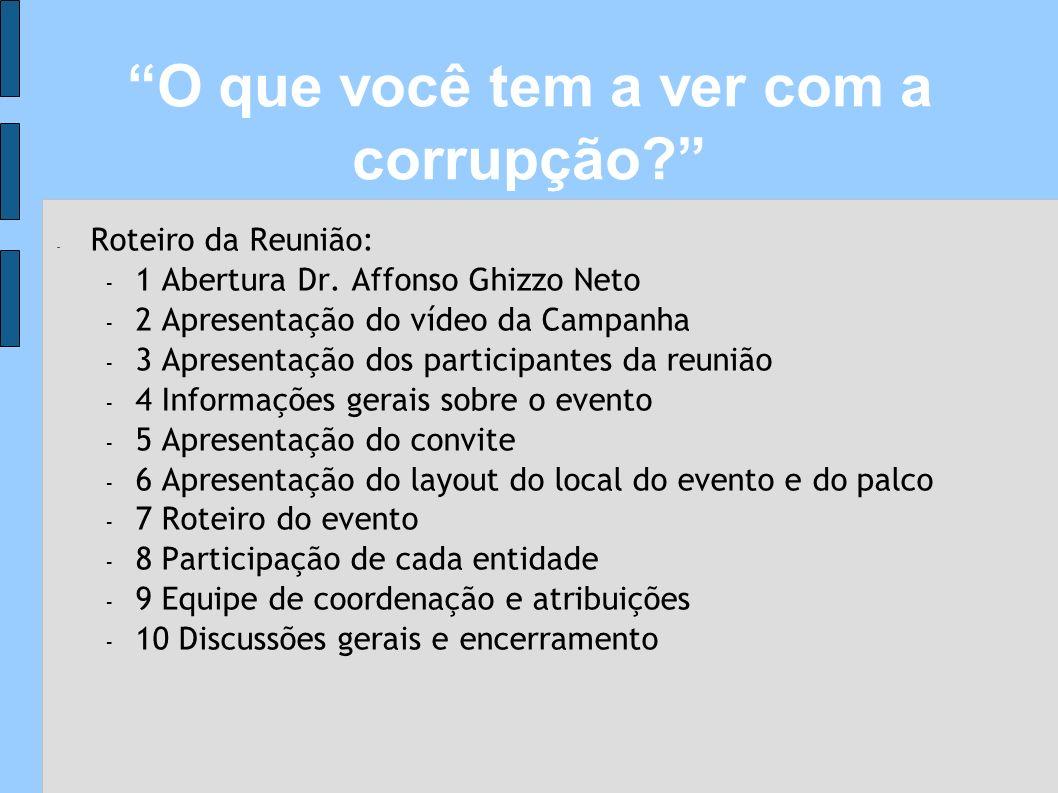 - Roteiro da Reunião: - 1 Abertura Dr. Affonso Ghizzo Neto - 2 Apresentação do vídeo da Campanha - 3 Apresentação dos participantes da reunião - 4 Inf