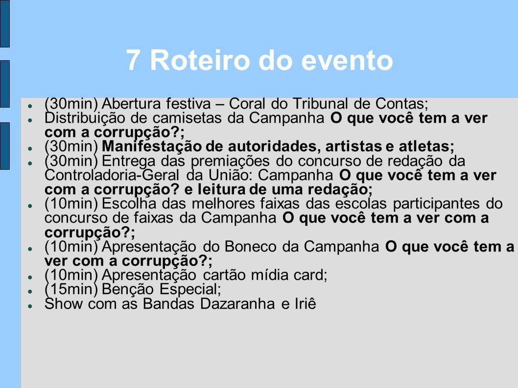 (30min) Abertura festiva – Coral do Tribunal de Contas; Distribuição de camisetas da Campanha O que você tem a ver com a corrupção?; (30min) Manifesta