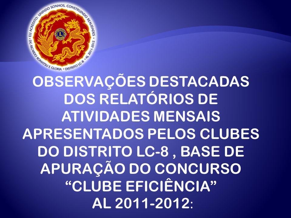 DIVULGAÇÃO DA PRIMEIRA PARCIAL DO CONCURSO CLUBE EFICIÊNCIA DO AL 2011-2012, SENDO AVALIADOS OS 56 CLUBES DO DISTRITO LC-8, EXISTENTES NO INÍCIO DESTE AL.