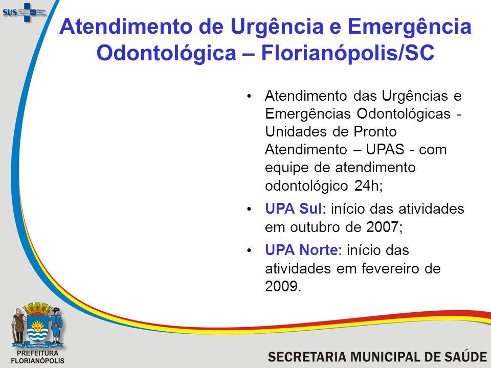 Atendimento de Urgência e Emergência Odontológica – Florianópolis/SC Atendimento das Urgências e Emergências Odontológicas - Unidades de Pronto Atendi