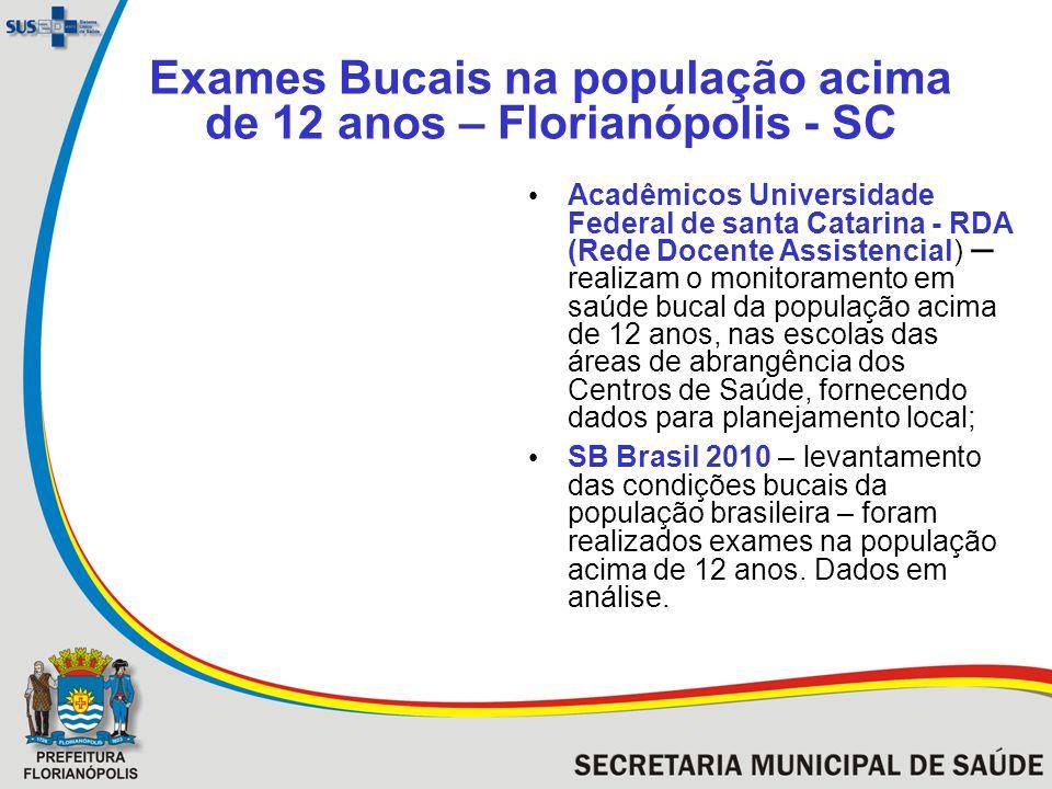 Exames Bucais na população acima de 12 anos – Florianópolis - SC Acadêmicos Universidade Federal de santa Catarina - RDA (Rede Docente Assistencial) –