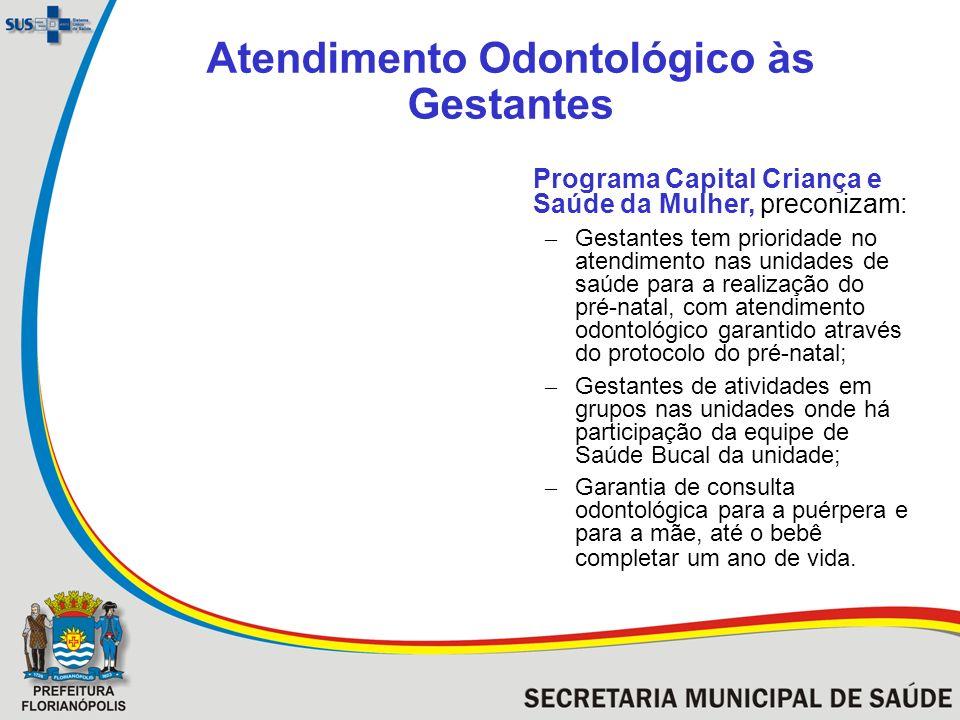 Atendimento Odontológico às Gestantes Programa Capital Criança e Saúde da Mulher, preconizam: – Gestantes tem prioridade no atendimento nas unidades d