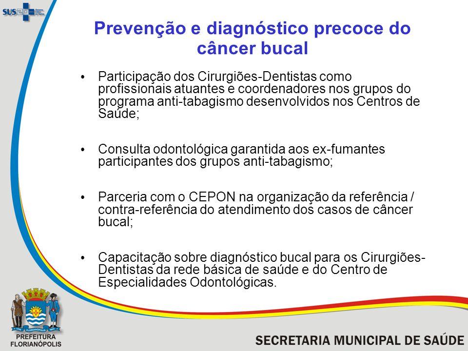 Prevenção e diagnóstico precoce do câncer bucal Participação dos Cirurgiões-Dentistas como profissionais atuantes e coordenadores nos grupos do progra