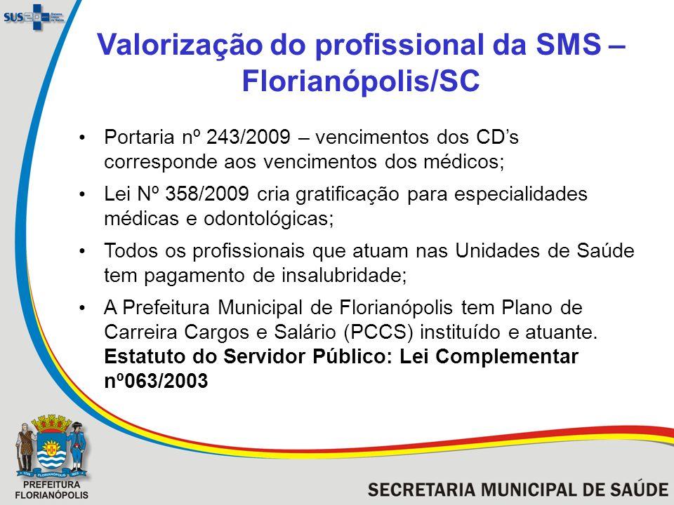 Valorização do profissional da SMS – Florianópolis/SC Portaria nº 243/2009 – vencimentos dos CDs corresponde aos vencimentos dos médicos; Lei Nº 358/2