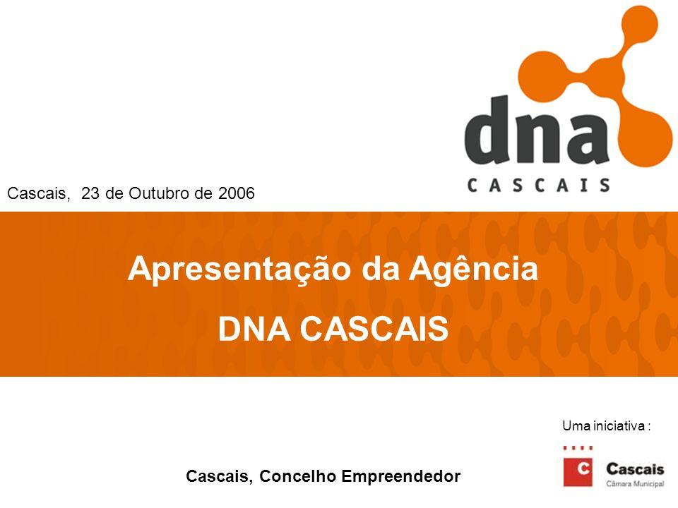 1 Apresentação da Agência DNA CASCAIS Cascais, 23 de Outubro de 2006 Cascais, Concelho Empreendedor Uma iniciativa :