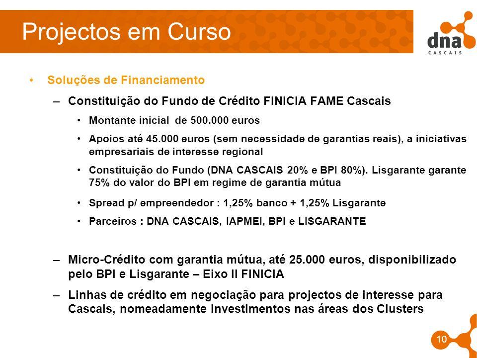 10 Projectos em Curso Soluções de Financiamento –Constituição do Fundo de Crédito FINICIA FAME Cascais Montante inicial de 500.000 euros Apoios até 45