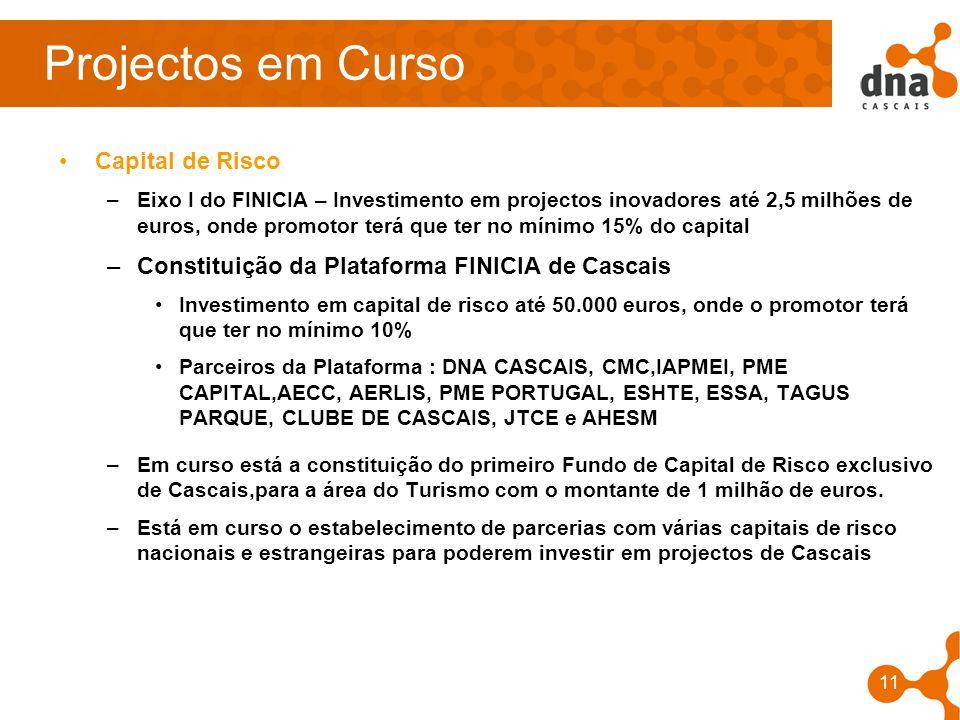 11 Projectos em Curso Capital de Risco –Eixo I do FINICIA – Investimento em projectos inovadores até 2,5 milhões de euros, onde promotor terá que ter