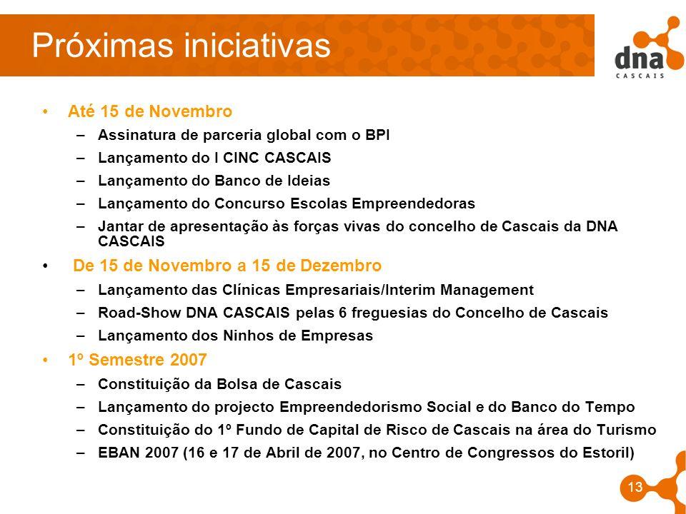 13 Próximas iniciativas Até 15 de Novembro –Assinatura de parceria global com o BPI –Lançamento do I CINC CASCAIS –Lançamento do Banco de Ideias –Lanç