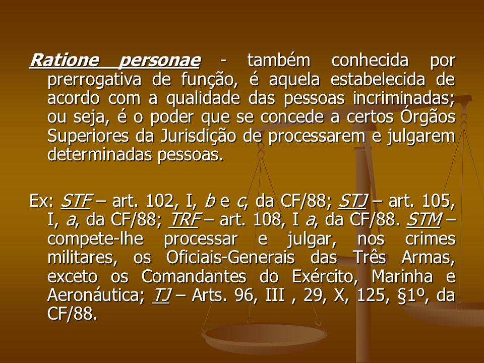 Ratione personae - também conhecida por prerrogativa de função, é aquela estabelecida de acordo com a qualidade das pessoas incriminadas; ou seja, é o