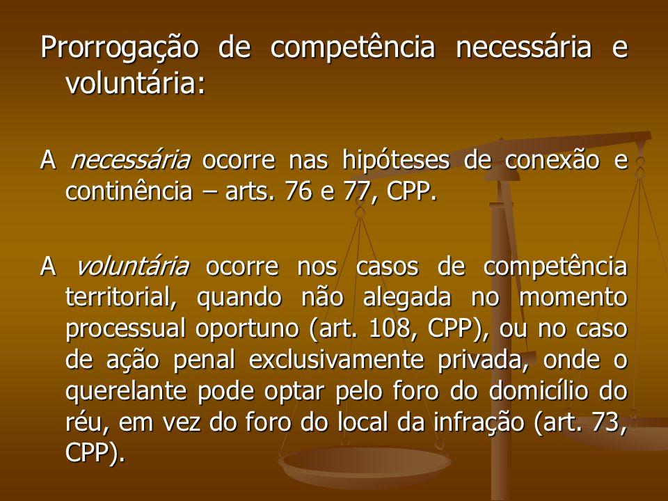 Prorrogação de competência necessária e voluntária: A necessária ocorre nas hipóteses de conexão e continência – arts. 76 e 77, CPP. A voluntária ocor