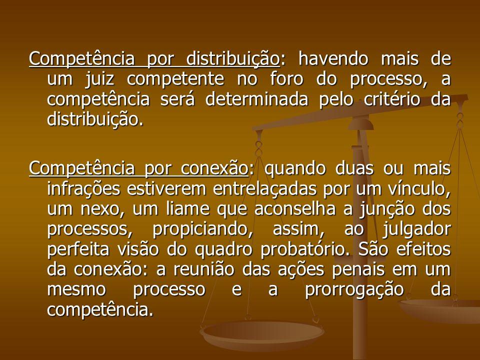 Competência por distribuição: havendo mais de um juiz competente no foro do processo, a competência será determinada pelo critério da distribuição. Co