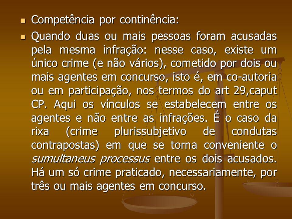 Competência por continência: Competência por continência: Quando duas ou mais pessoas foram acusadas pela mesma infração: nesse caso, existe um único