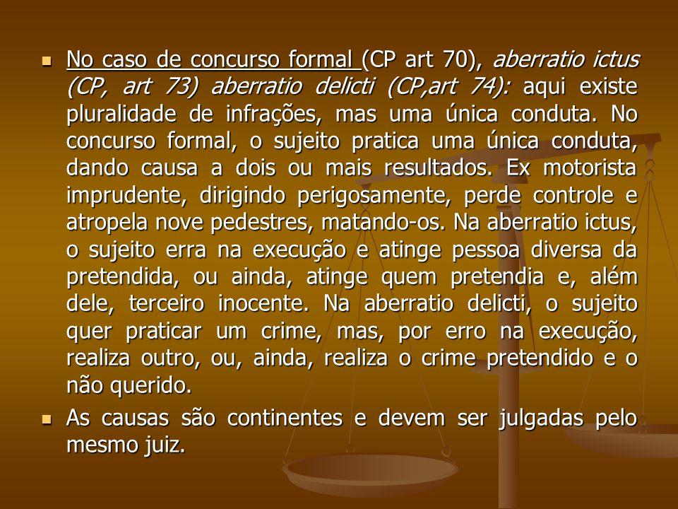 No caso de concurso formal (CP art 70), aberratio ictus (CP, art 73) aberratio delicti (CP,art 74): aqui existe pluralidade de infrações, mas uma únic