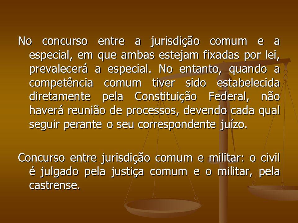 No concurso entre a jurisdição comum e a especial, em que ambas estejam fixadas por lei, prevalecerá a especial. No entanto, quando a competência comu
