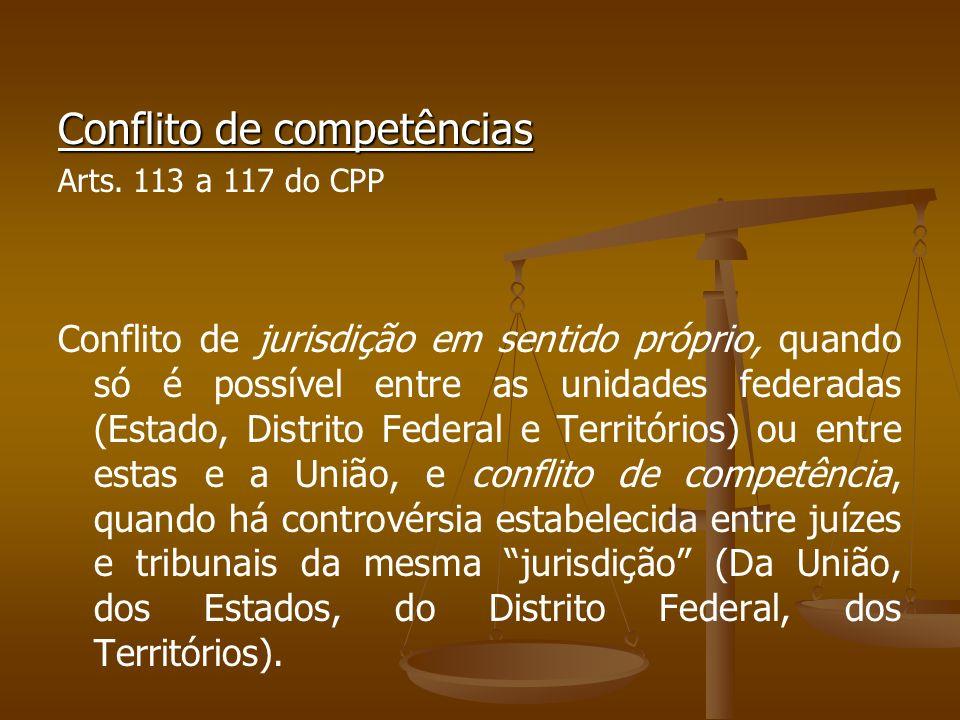 Conflito de competências Arts. 113 a 117 do CPP Conflito de jurisdição em sentido próprio, quando só é possível entre as unidades federadas (Estado, D
