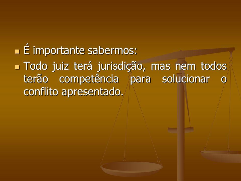 É importante sabermos: É importante sabermos: Todo juiz terá jurisdição, mas nem todos terão competência para solucionar o conflito apresentado. Todo