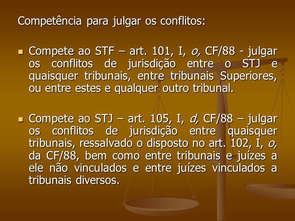 Competência para julgar os conflitos: Compete ao STF – art. 101, I, o, CF/88 - julgar os conflitos de jurisdição entre o STJ e quaisquer tribunais, en