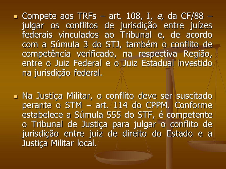 Compete aos TRFs – art. 108, I, e, da CF/88 – julgar os conflitos de jurisdição entre juízes federais vinculados ao Tribunal e, de acordo com a Súmula
