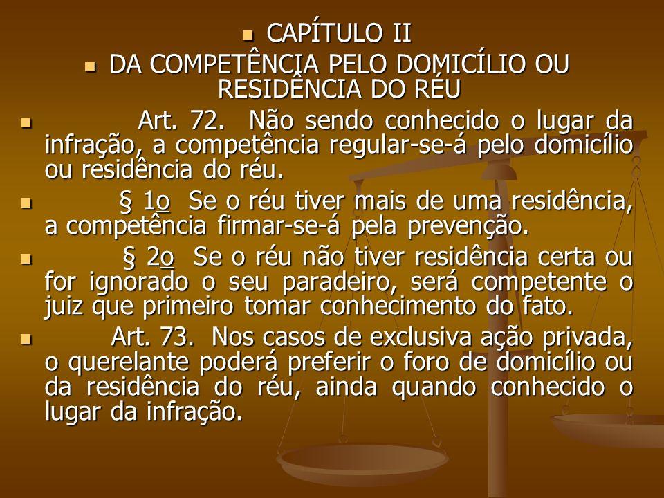 CAPÍTULO II CAPÍTULO II DA COMPETÊNCIA PELO DOMICÍLIO OU RESIDÊNCIA DO RÉU DA COMPETÊNCIA PELO DOMICÍLIO OU RESIDÊNCIA DO RÉU Art. 72. Não sendo conhe