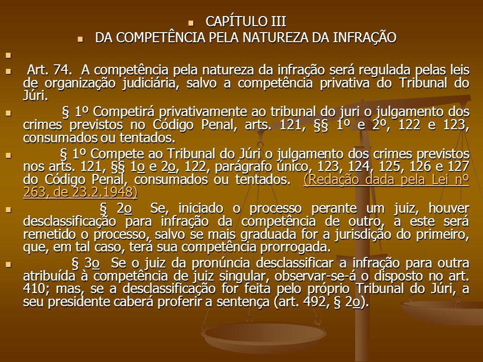 CAPÍTULO III CAPÍTULO III DA COMPETÊNCIA PELA NATUREZA DA INFRAÇÃO DA COMPETÊNCIA PELA NATUREZA DA INFRAÇÃO Art. 74. A competência pela natureza da in