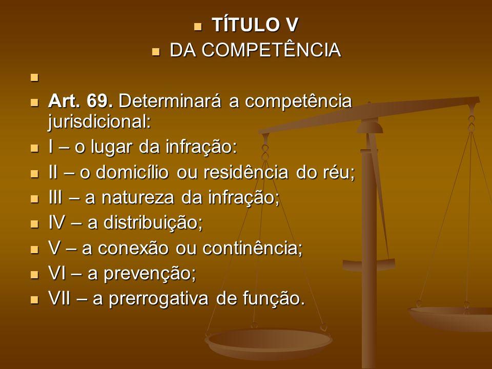 TÍTULO V TÍTULO V DA COMPETÊNCIA DA COMPETÊNCIA Art. 69. Determinará a competência jurisdicional: Art. 69. Determinará a competência jurisdicional: I