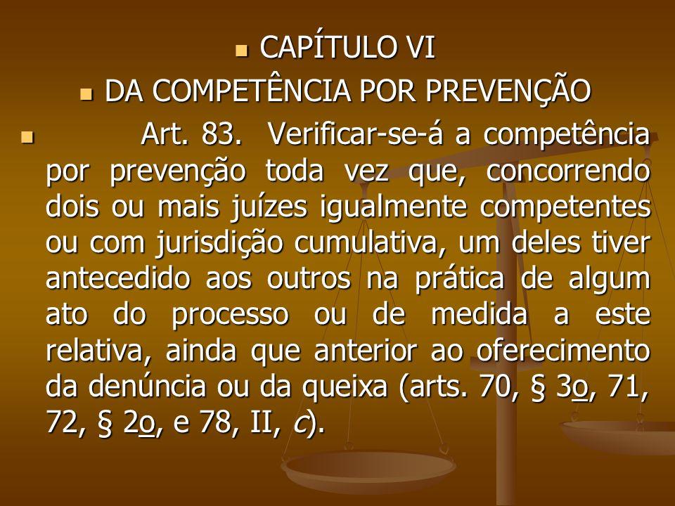 CAPÍTULO VI CAPÍTULO VI DA COMPETÊNCIA POR PREVENÇÃO DA COMPETÊNCIA POR PREVENÇÃO Art. 83. Verificar-se-á a competência por prevenção toda vez que, co
