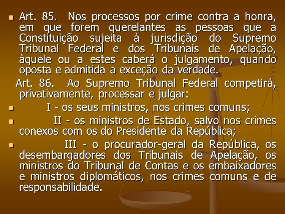 Art. 85. Nos processos por crime contra a honra, em que forem querelantes as pessoas que a Constituição sujeita à jurisdição do Supremo Tribunal Feder