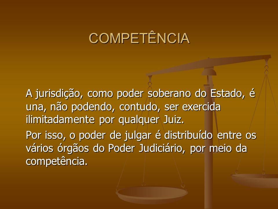 COMPETÊNCIA A jurisdição, como poder soberano do Estado, é una, não podendo, contudo, ser exercida ilimitadamente por qualquer Juiz. Por isso, o poder