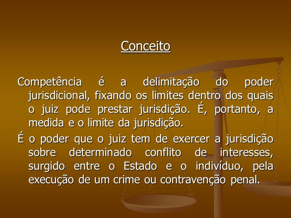 Conceito Competência é a delimitação do poder jurisdicional, fixando os limites dentro dos quais o juiz pode prestar jurisdição. É, portanto, a medida