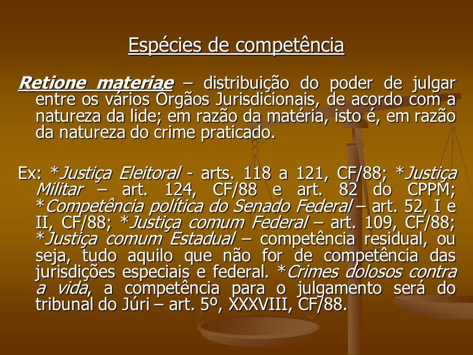 Espécies de competência Retione materiae – distribuição do poder de julgar entre os vários Órgãos Jurisdicionais, de acordo com a natureza da lide; em